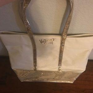 Victoria's Secret Bags - Sparkly gold, VS tote
